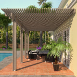 08 ft. Deep x 18 ft. Wide Adobe Attached Aluminum Pergola -4 Posts - (30lb Medium/High Snow Area)