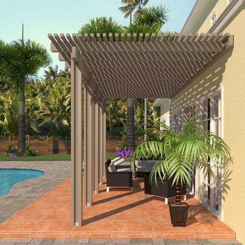 08 ft. Deep x 24 ft. Wide Adobe Attached Aluminum Pergola -5 Posts - (30lb Medium/High Snow Area)