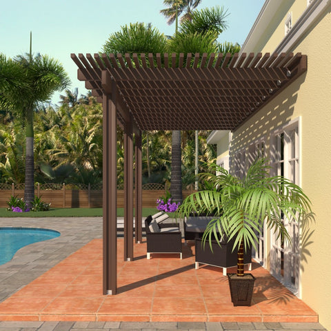 08 ft. Deep x 18 ft. Wide Brown Attached Aluminum Pergola -3 Posts - (10lb Low Snow Area)