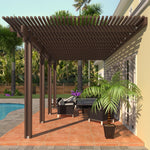 08 ft. Deep x 22 ft. Wide Brown Attached Aluminum Pergola -4 Posts - (20lb Low/Medium Snow Area)