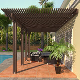 12 ft. Deep x 16 ft. Wide Brown Attached Aluminum Pergola -4 Posts - (20lb Low/Medium Snow Area)