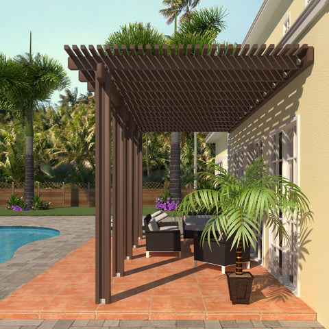 10 ft. Deep x 24 ft. Wide Brown Attached Aluminum Pergola -5 Posts - (30lb Medium/High Snow Area)
