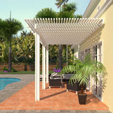 14 ft. Deep x 16 ft. Wide White Attached Aluminum Pergola -3 Posts - (10lb Low Snow Area)