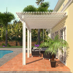08 ft. Deep x 12 ft. Wide White Attached Aluminum Pergola -3 Posts - (30lb Medium/High Snow Area)