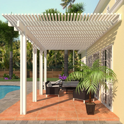 12 ft. Deep x 14 ft. Wide White Attached Aluminum Pergola -4 Posts - (20lb Low/Medium Snow Area)