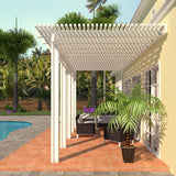 10 ft. Deep x 24 ft. Wide White Attached Aluminum Pergola -5 Posts - (30lb Medium/High Snow Area)