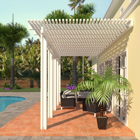08 ft. Deep x 24 ft. Wide White Attached Aluminum Pergola -5 Posts - (30lb Medium/High Snow Area)