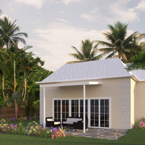 12 ft. Deep x 12 ft. Wide White Attached Aluminum Patio Cover -2 Posts - (20lb Low/Medium Snow Area)