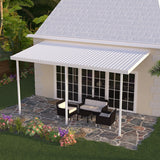 10 ft. Deep x 20 ft. Wide White Attached Aluminum Patio Cover - 3 Posts - (10lb Low Snow Area)