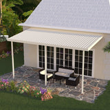 14 ft. Deep x 18 ft. Wide Ivory Attached Aluminum Patio Cover -3 Posts - (10lb Low Snow Area)