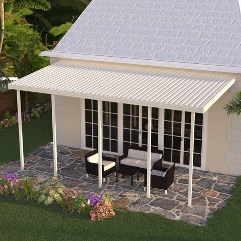 14 ft. Deep x 28 ft. Wide Ivory Attached Aluminum Patio Cover -4 Posts - (10lb Low Snow Area)