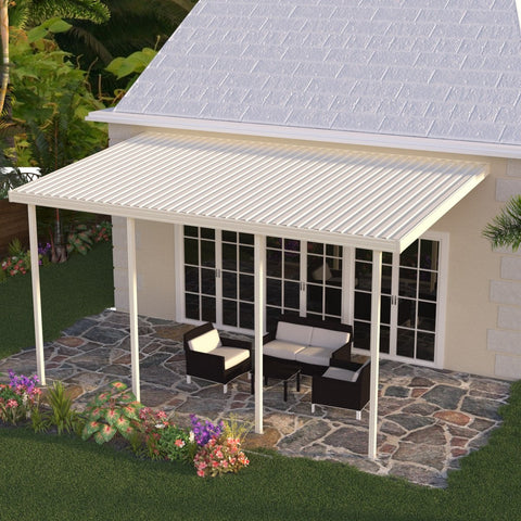 12 ft. Deep x 34 ft. Wide Ivory Attached Aluminum Patio Cover -5 Posts - (10lb Low Snow Area)