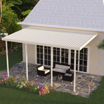 14 ft. Deep x 34 ft. Wide Ivory Attached Aluminum Patio Cover -5 Posts - (10lb Low Snow Area)