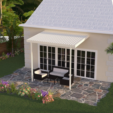 08 ft. Deep x 12 ft. Wide Ivory Attached Aluminum Patio Cover -2 Posts - (20lb Low/Medium Snow Area)