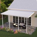 14 ft. Deep x 26 ft. Wide White Attached Aluminum Patio Cover -4 Posts - (10lb Low Snow Area)
