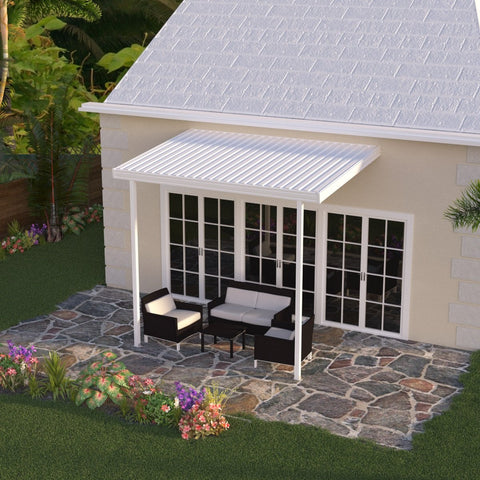 10 ft. Deep x 12 ft. Wide White Attached Aluminum Patio ...