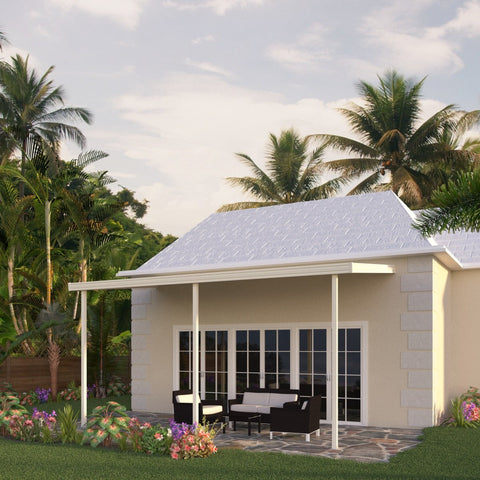 09 ft. Deep x 16 ft. Wide Ivory Attached Aluminum Patio Cover -3 Posts - (20lb Low/Medium Snow Area)