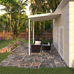 10 ft. Deep x 12 ft. Wide Ivory Attached Aluminum Patio Cover -2 Posts - (10lb Low Snow Area)