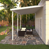 08 ft. Deep x 16 ft. Wide White Attached Aluminum Patio Cover -3 Posts - (30lb Medium/High Snow Area)