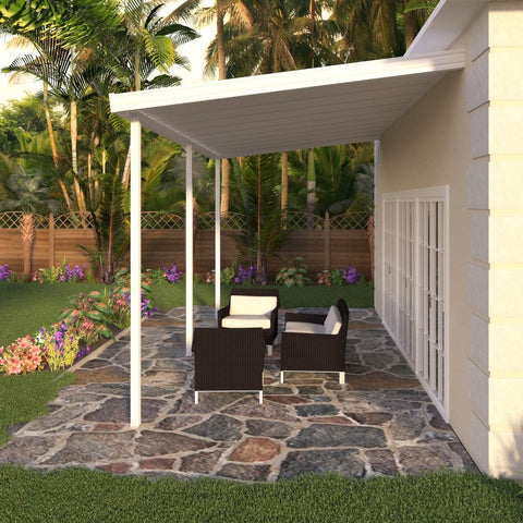 14 ft. Deep x 20 ft. Wide White Attached Aluminum Patio Cover -3 Posts - (10lb Low Snow Area)