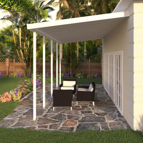 12 ft. Deep x 36 ft. Wide White Attached Aluminum Patio Cover -5 Posts - (10lb Low Snow Area)