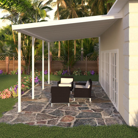 14 ft. Deep x 22 ft. Wide White Attached Aluminum Patio Cover -4 Posts - (10lb Low Snow Area)
