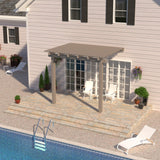 08 ft. Deep x 14 ft. Wide Adobe Attached Aluminum Pergola -2 Posts - (10lb Low Snow Area)