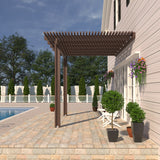 08 ft. Deep x 12 ft. Wide Brown Attached Aluminum Pergola -2 Posts - (10lb Low Snow Area)