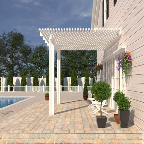 08 ft. Deep x 14 ft. Wide White Attached Aluminum Pergola -2 Posts - (10lb Low Snow Area)