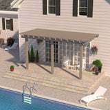 08 ft. Deep x 16 ft. Wide Adobe Attached Aluminum Pergola -3 Posts - (20lb Low/Medium Snow Area)