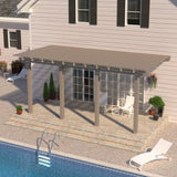 12 ft. Deep x 20 ft. Wide Adobe Attached Aluminum Pergola -4 Posts - (10lb Low Snow Area)