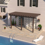 12 ft. Deep x 14 ft. Wide Brown Attached Aluminum Pergola -3 Posts - (10lb Low Snow Area)