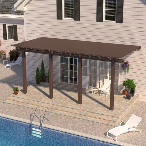 10 ft. Deep x 24 ft. Wide Brown Attached Aluminum Pergola -4 Posts - (10lb Low Snow Area)