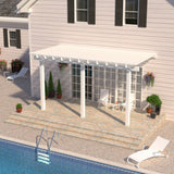 12 ft. Deep x 14 ft. Wide White Attached Aluminum Pergola -3 Posts - (10lb Low Snow Area)