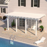 08 ft. Deep x 22 ft. Wide White Attached Aluminum Pergola -4 Posts - (20lb Low/Medium Snow Area)
