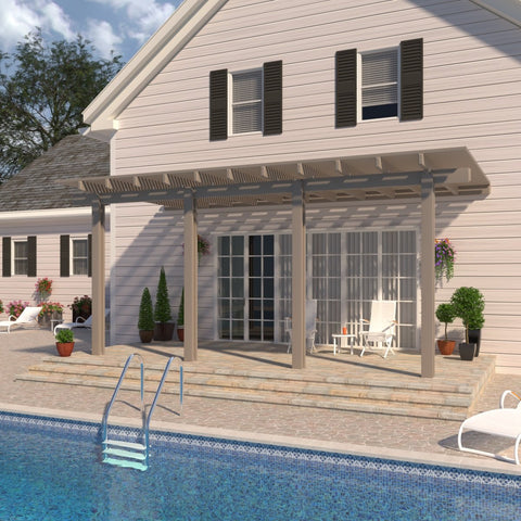 10 ft. Deep x 24 ft. Wide Adobe Attached Aluminum Pergola -4 Posts - (20lb Low/Medium Snow Area)