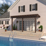 12 ft. Deep x 16 ft. Wide Brown Attached Aluminum Pergola -3 Posts - (10lb Low Snow Area)
