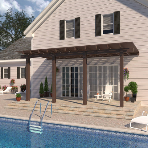 08 ft. Deep x 24 ft. Wide Brown Attached Aluminum Pergola -4 Posts - (10lb Low Snow Area)