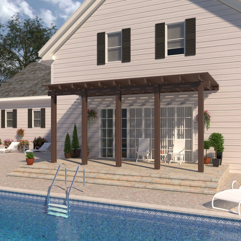 08 ft. Deep x 24 ft. Wide Brown Attached Aluminum Pergola -5 Posts - (30lb Medium/High Snow Area)
