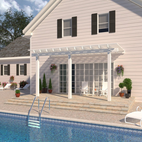 08 ft. Deep x 18 ft. Wide White Attached Aluminum Pergola -3 Posts - (20lb Low/Medium Snow Area)