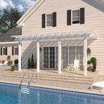 14 ft. Deep x 24 ft. Wide White Attached Aluminum Pergola -4 Posts - (10lb Low Snow Area)