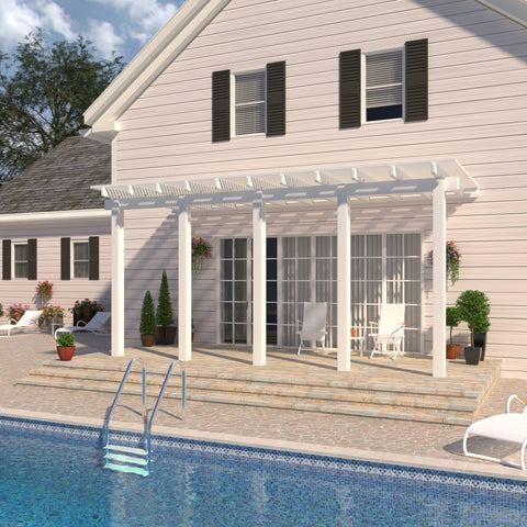 08 ft. Deep x 24 ft. Wide White Attached Aluminum Pergola -5 Posts - (20lb Low/Medium Snow Area)