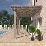 08 ft. Deep x 16 ft. Wide Adobe Attached Aluminum Pergola -3 Posts - (10lb Low Snow Area)