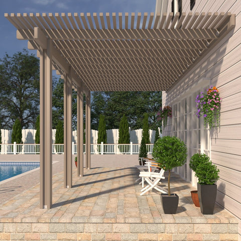 08 ft. Deep x 20 ft. Wide Adobe Attached Aluminum Pergola -4 Posts - (20lb Low/Medium Snow Area)
