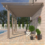 10 ft. Deep x 16 ft. Wide Adobe Attached Aluminum Pergola -4 Posts - (30lb Medium/High Snow Area)