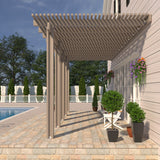 08 ft. Deep x 24 ft. Wide Adobe Attached Aluminum Pergola -5 Posts - (20lb Low/Medium Snow Area)