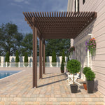 10 ft. Deep x 20 ft. Wide Brown Attached Aluminum Pergola -3 Posts - (10lb Low Snow Area)