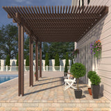 12 ft. Deep x 20 ft. Wide Brown Attached Aluminum Pergola -4 Posts - (20lb Low/Medium Snow Area)