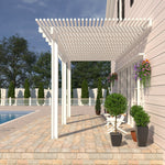 10 ft. Deep x 14 ft. Wide White Attached Aluminum Pergola -3 Posts - (10lb Low Snow Area)
