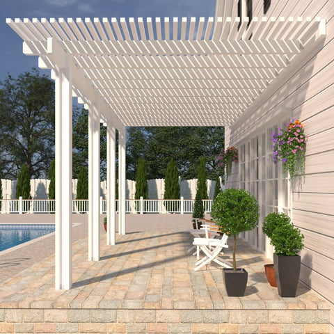 08 ft. Deep x 22 ft. Wide White Attached Aluminum Pergola -4 Posts - (30lb Medium/High Snow Area)